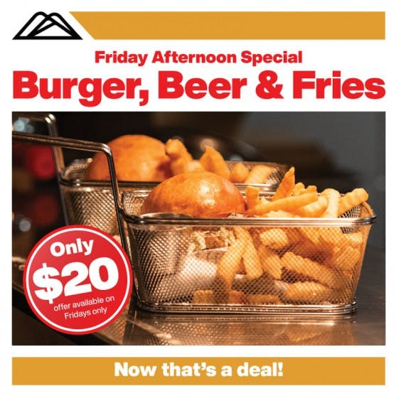 Christchurch Adventure Park Cafe Friday Special Burger Beer and Fries Offer